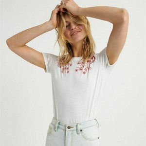 Lucky Brand Womens White Tee Shoulder Floral Small